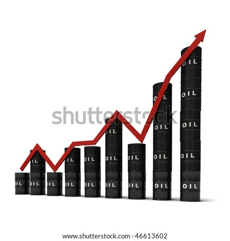 Graph consisting of stacks of barrels illustrating the oil market, isolated on white background