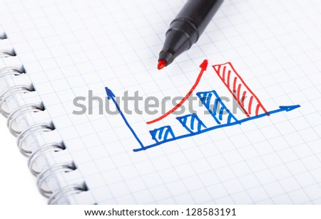 Graph drawn by hand on paper shit - stock photo