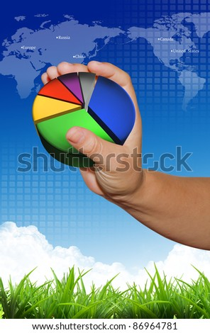 Graph in hand present on blue sky background and world map