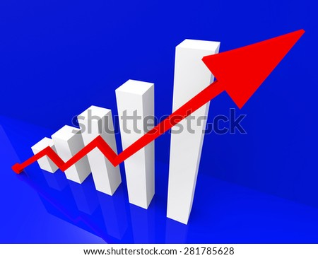 Graph Increasing Profit Rise Or Sale Increase Shows Performance Equity Growth Or Positive Profitability Success