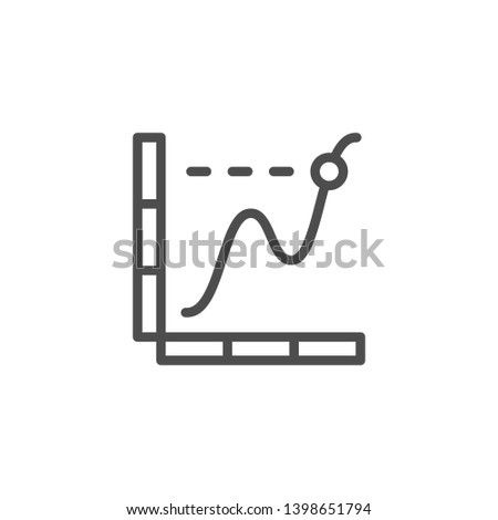 Graph line icon isolated on white