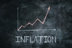 Graph of inflation in white chalk on a black chalkboard