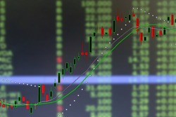 graph of investment stock candle market chart in double exposure business concept