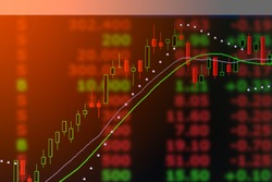graph of investment world stock candle market chart in double exposure business concept