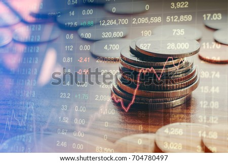 Graph of stock market Coins ,financial indicator analysis Abstract stock market data concept. Stock market financial data statistic graph