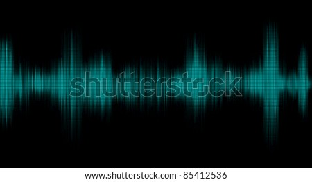 Graph of the sound signal in the black background - stock photo