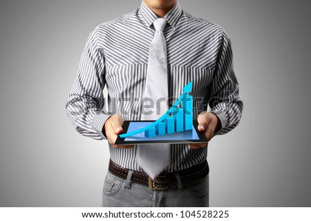 graph on a tablet isolated  with in hand businessmen