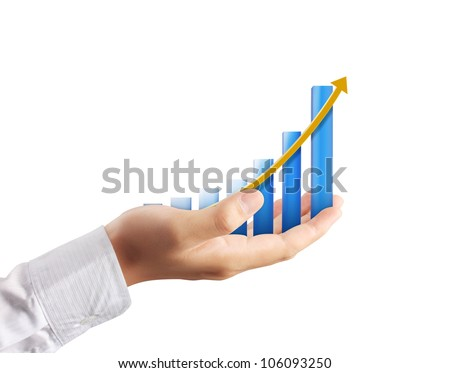 Graph on hand on white background