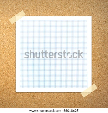 graph paper on cork board