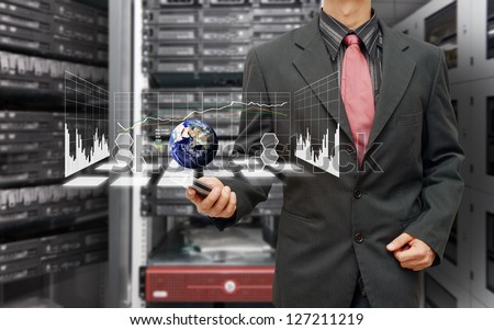 Graph report in data center room : Elements of this image furnished by NASA