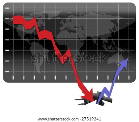 Graph representing the global economic crisis and the long way to recovery