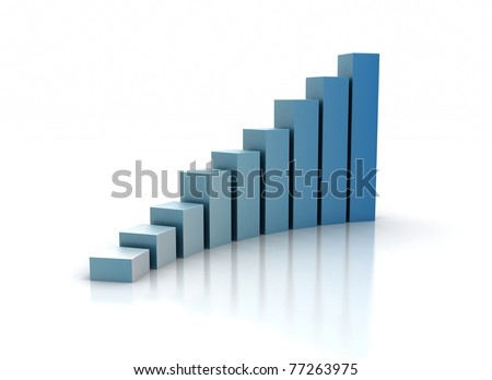 Graph rising isolated on white - stock photo