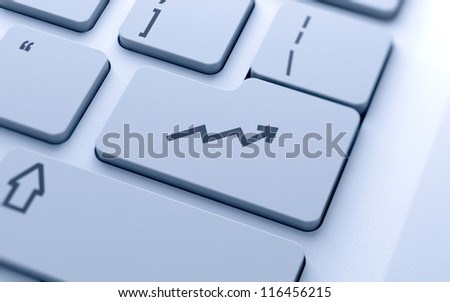 Graph sign button on keyboard with soft focus