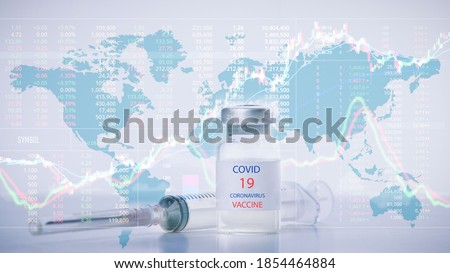 graph stock and coronavirus vaccine.Stock market growth concept. Bar chart economy recovery on the stock exchange because of Coronavirus vaccine discovery.