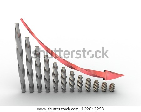 Graph with a red arrow on a white background 1