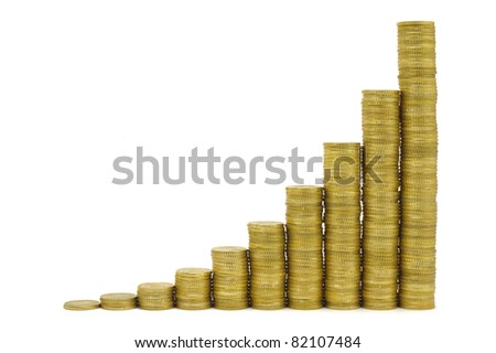 graph with Euro currency shows success and growth in business - stock photo
