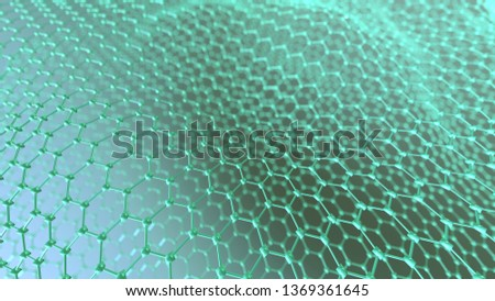 Graphene molecular grid. Science and technology background. 3d render.