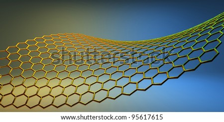 graphene molecular structure on yellow-blue background