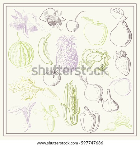 Graphic abstract decorative illustrations of fruits, berries and vegetables. Suitable for invitation, flyer, sticker, poster, banner, card,label, cover, web.  #597747686
