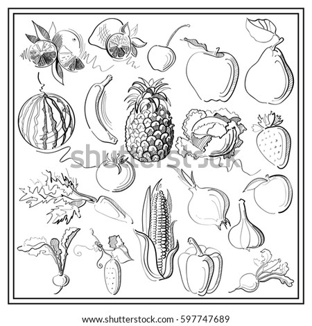 Graphic abstract decorative illustrations of fruits, berries and vegetables. Suitable for invitation, flyer, sticker, poster, banner, card,label, cover, web. Coloring book page. #597747689