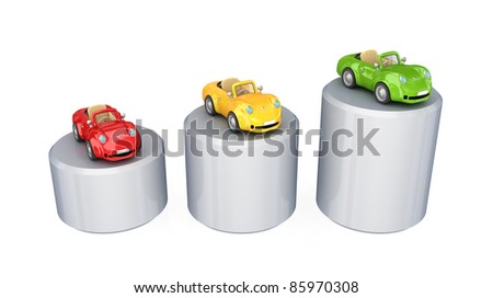 Graphic and three colorful cars.Isolated on white background. 3d rendered.