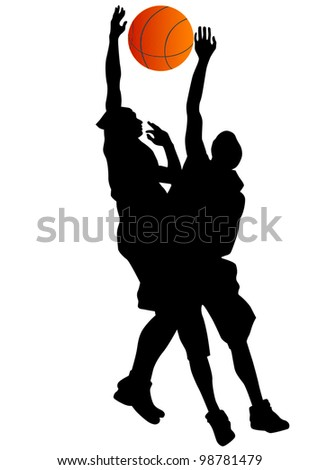 graphic basketball. Silhouette man with ball