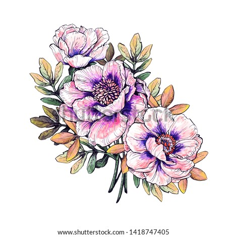 Graphic bouquet of flowers for the design of postcards and posters. Handmade watercolor, pen and ink.