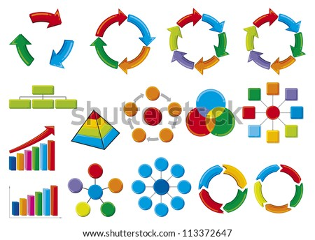graphic business diagram collection (business process diagrams, bar graph, business diagram, circle chart, business process)