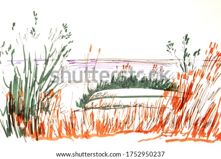 graphic color travel sketch an upturned boat is lying among the coastal grass on the beach