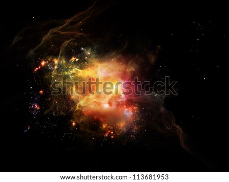 Graphic composition of nebulous textures, lights and gradients to serve as complimentary design for the subject of astronomy, imagination, fantasy and creativity