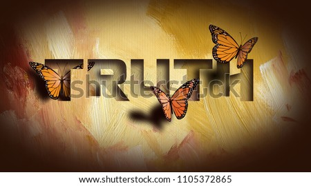 Graphic composition of the Christan Biblical concept of 'The Truth shall set you free'. Digital art composed of type and illustration against hand painted textured background.
