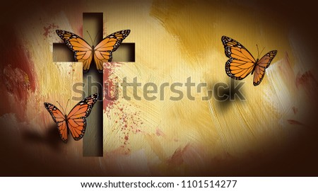 Graphic composition of the cross of Jesus setting free a trio of beautiful butterflies. Art suitable for possible use as greeting card cover as well as stand alone image.