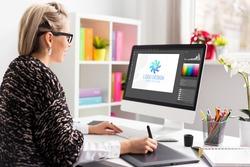 Graphic design artist working on client's logo design