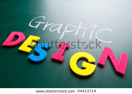 Graphic design concept, colorful words on blackboard. #94453714