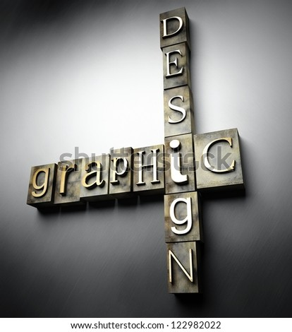 Graphic design concept, 3d vintage letterpress text