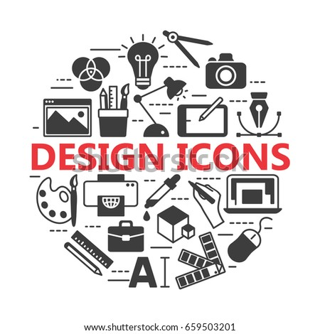 Graphic design icons,  symbols. Printing and graphic design icons.