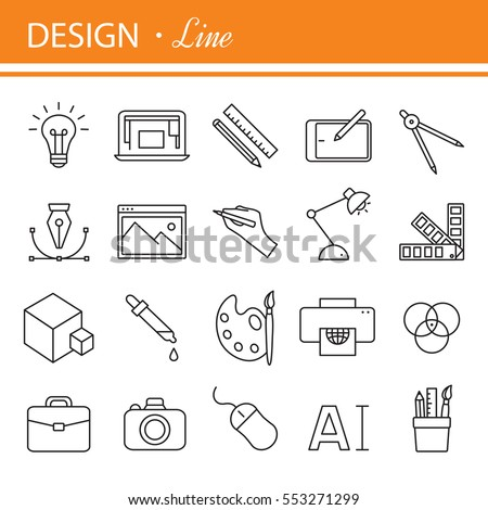 Graphic design icons, symbols. Printing and graphic design icons in thin outlines. Raster version.