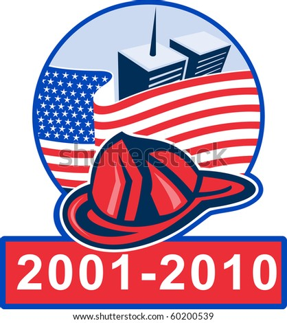 graphic design illustration of 9/11 memorial showing american flag  with world trade center twin tower building in the background and fireman helmet