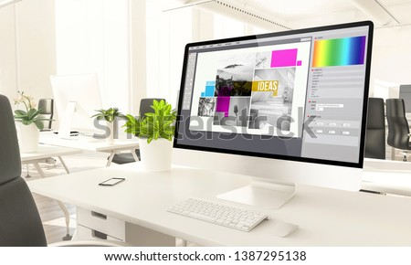 graphic design screen mockup computer in loft office 3d rendering