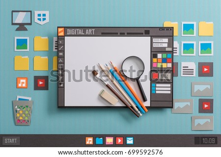 Graphic design software user interface with real tools, creativity and communication concept, collage and paper cut composition #699592576