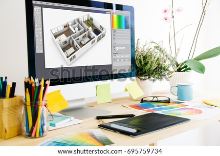Graphic design studio interior design - Shutterstock ID 695759734