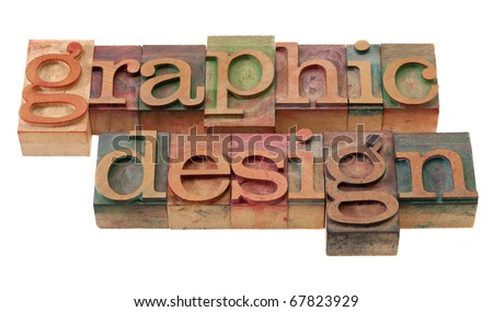 graphic design word abstract in vintage wooden letterpress printing blocks, stained by color inks, isolated on white #67823929