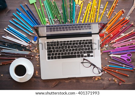 Graphic Designer At Work Color Swatch Samples Stock Photo 401371993