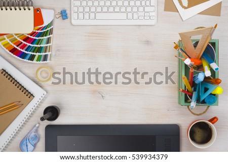 graphic designer desk...