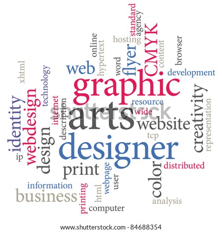 Graphic designer. Trendy print concept word cloud.