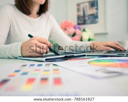 Graphic Designer working with interactive pen display, digital Drawing tablet and Pen on a computer #788561827