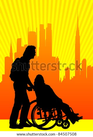 graphic disabled in a wheel chair. Silhouettes of people