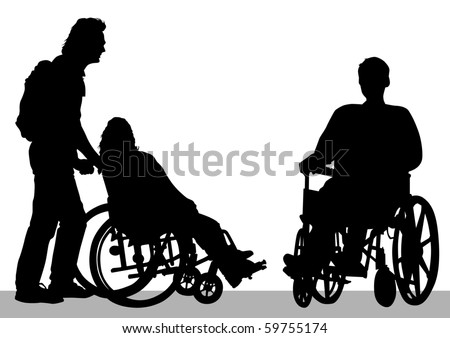 graphic disabled in a wheel chair. Silhouettes on a white background
