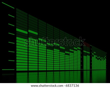 graphic equalizer display with reflection - stock photo