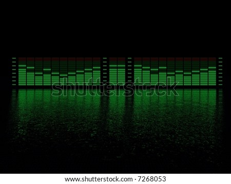 graphic equalizer display with reflection